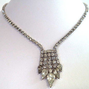 12k gold fill rhinestone necklace vintage